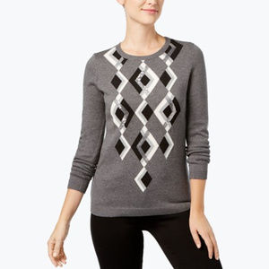 Charter Club Embellished Argyle Sweater
